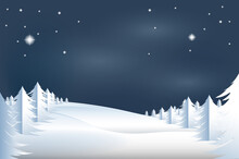 Winter Landscape, Christmas Background. Winter Night Scene Background. Christmas Card For Banner, Flyer And Wallpaper. Woodland Landscape For Postcard, Greeting Card And Cover. Christmas Vector