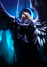 A Beautiful Female Angel Knight Proudly Hovers In The Air With A Magic Shining Blue Light Sword And A Halo Around Her Head, Against The Night Landscape Of The Castle . 2D Illustration.