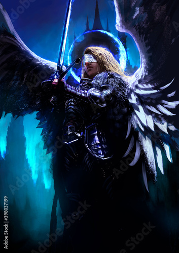 A beautiful female angel knight proudly hovers in the air with a magic shining blue light sword and a halo around her head, against the night landscape of the castle Fotobehang