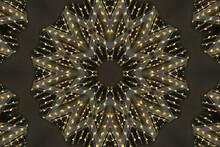 Bright Fractal Sun Flower Mandala Glowing Soft Yellow On Dark Gray/ Kaleidoscopic Pattern