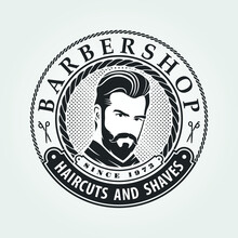 Barbershop Logo, Poster, Banner Template With Bearded Men. Vector Illustration