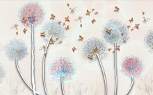 3d Illustration, Abstract Blurred Multicolored Dandelions And Embossed Butterflies On A Light Pink Background