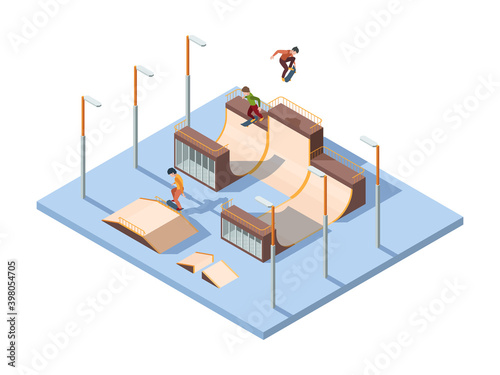 Fototapeta Skate park. Young teenagers active riders and jumpers extreme sport activities skateboard performance vector isometric background. Skatepark city, person activity and recreation illustration obraz