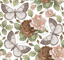 Butterflies Moths Insects Animals Fly. Seamless Baroque Textile. Beautiful Pink Red Realistic Flowers. Vintage Background. Wallpaper. Roses Wildflowers Floral. Vector Victorian Illustration