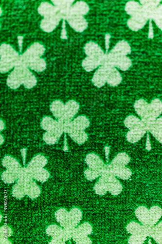 Photo Macro closeup of St Patrick's Day green clover fabric