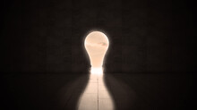 BIg Dark Empty Room With Light Bulb As A Doorway To Get Out From Darkness To The Life Lightness Or Freedom Concept