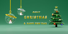 Snow Man With Snow Globe And Green Chrismas Tree In Green Pastel Composition For Website Or Poster Or Happiness Cards,Christmas Banner And Festive New Year, Realistic 3d Illustration Or 3d Render