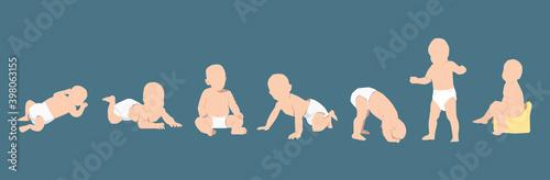 Fototapeta Bébés nus avec couches sur fond bleu obraz
