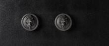 Ceramic Lion Sculptures On Black Background