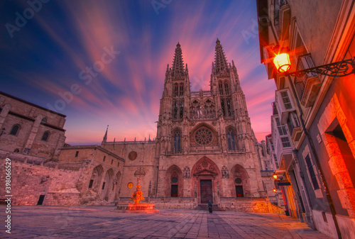 Burgos Cathedral in the dusk light, Spain. Fotobehang