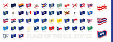 Flags Of The United States Of America, US States Waving Flag Collection.
