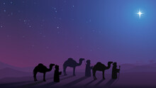 The Three Wise Men Follow The Christmas Star