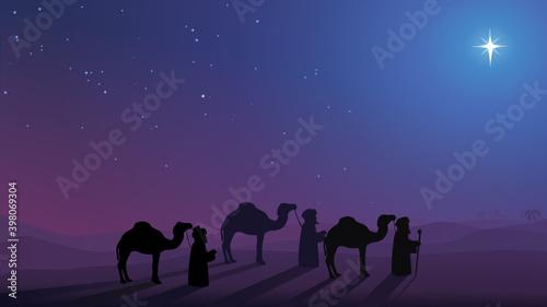 The three wise men follow the Christmas star Fotobehang