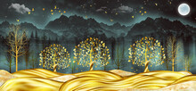 3d Modern Art Mural Wallpaper With Black Jungle , Forest  Background . Golden Tree ,  Marble Mountain , Moon With Golden Birds . Canvas Suitable For Use As A Frame On Walls .