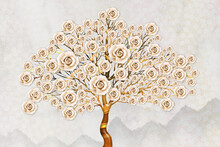 3D Tree With Pink Roses, Wood Brown Stump, Beautiful Background For Wallpaper And Mural . Gray Floral Background