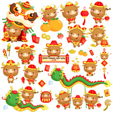 A Vector Set Of Ox In Chinese New Year Celebration Costume And Items