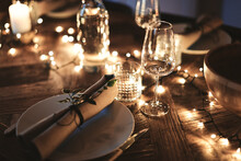 Dining Table Decorated For An Evening Dinner Party