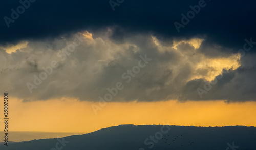 Fototapety, obrazy: Sunset in mountains of Crimea, Sunset landscape with rays of sun and mountains.