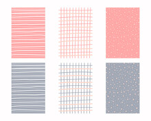 Modern Hand Drawn Set Of Geometric Patterns In Pastel Colors. Horizontal And Vertical Stripes And Grid. Cute Infantile Repeatable Design