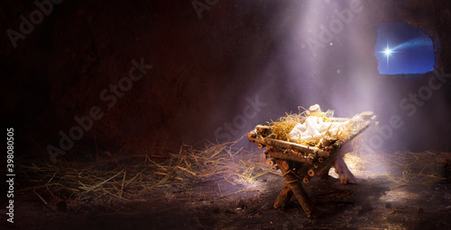 Waiting For The Messiah - Empty Manger With Comet Star Coming
