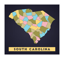 South Carolina Map. Us State Poster With Regions. Shape Of South Carolina With Us State Name. Stylish Vector Illustration.