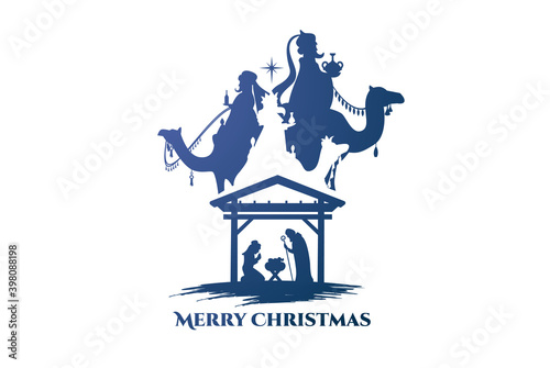 Photo vector illustration Birth of Christ, baby Jesus reaching the Magi bear gifts, th