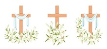 Cross With Lilies. Religious  Easter Symbol. Colorful Set Of Crosses With Lilies And Shroud. Easter Sunday Poster Design Element, Card, Greetings. Isolated. Vector Illustration
