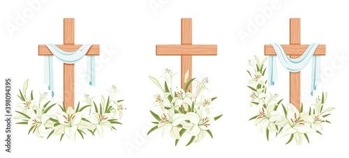 Billede på lærred Cross with lilies