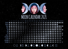 Moon Calendar, 2021 Year, Lunar Phases, Cycles. Design Illustrated With Triple Goddess Symbol: Maiden, Mother And Crone. Vector Illustration