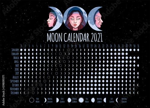 Fotografiet Moon calendar, 2021 year, lunar phases, cycles