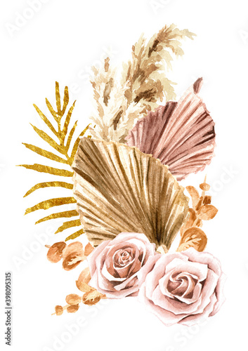 Fototapeta Boho composition of dried flowers and palm leaves. Hand drawn watercolor illustration, isolated on white background obraz