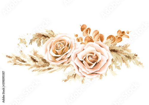 Fototapeta Boho composition of dried rose flowers and pampas grass. Hand drawn watercolor illustration isolated on white background obraz