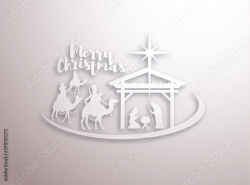 Fotografie, Obraz vector illustration Birth of Christ, baby Jesus reaching the Magi bear gifts, th