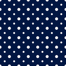 Vector Seamless Pattern Circle. Blue Dot Texture. Geometric Dotty Pattern. Point Background. Classic Polka. Small And Large Dots. Simple Polkadots. Repeat Polkadot Design Prints, Wallpapers, Textiles