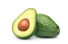 Avocado With Cut In Half Isolated On White Background. Clipping Path.