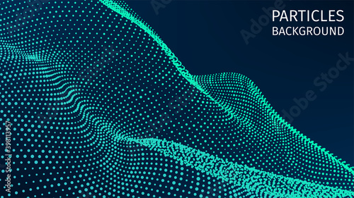 Particles structure. 3d futuristic backdrop for research article. HUD elements. Blockchain, artificial intelligence, big data technology. Data base, hybrid energy and binary code. Vector illustration