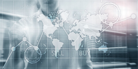 Investment Financial Chart Graphs. Intelligence dashboard sell and buy.