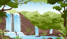 Waterfall In Green Jungle Rainforest, Fresh Greenery