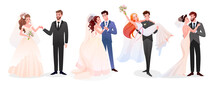 Marriage Wedding Couple Vector Illustration Collection. Cartoon Happy Just Married Couples Characters Standing Together, Cute Newlywed Bride And Groom, Marriage Bridal Ceremony Or New Husband And Wife
