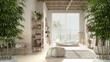 canvas print picture - Zen interior with potted bamboo plant, natural interior design concept, bathroom in beige tones, big bathtub, ceramic tiles floor, carpet, round poufs and shelf, interior design idea