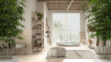 Zen Interior With Potted Bamboo Plant, Natural Interior Design Concept, Bathroom In Beige Tones, Big Bathtub, Ceramic Tiles Floor, Carpet, Round Poufs And Shelf, Interior Design Idea
