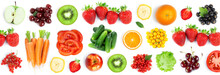 Fruits And Vegetables. Fresh Food On The White Background. Top View . Texture