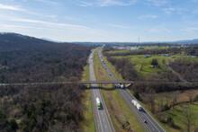 Aerial View Of Interstate 81 Near Strasburg, Shenandoah County, Virginia.