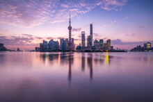 Pudong Skyline At Sunrise, Shanghai, China