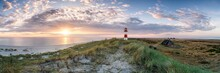 Panoramic View Of A Sunrise At The Dune Beach, Schleswig-Holstein, Germany
