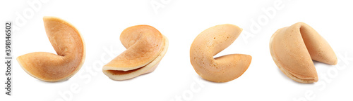 Fotomural Set of fortune cookies on white background. Banner design