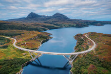 Kylesku Bridge Along The NC500 In Northern Scotland, Taken In August 2020