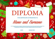 Education Diploma Or Certificate With Vector Background Frame Of Christmas Gifts. School Graduation Diploma Award, Certificate Of Achievement Or Appreciation With Xmas Bell, Present Boxes And Stocking