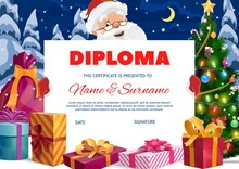 Kids Preschool Diploma With Santa Claus And Gifts. Cartoon Vector Christmas Certificate Template With Xmas Presents And Sack Stand At Christmas Tree With Gift Boxes On Snow. Santa Hold A Diploma