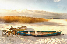 Winter Landscape With Ice Lake And Boat Colorful Painting